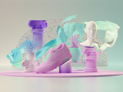 Got nike!? gradient cloth classic mograph designer white blue motion design rendering minimalist graphics design 3d design nike pink ui ux composition lighting cinema4d 3d