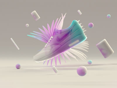 Got Nike!? V2 render clean floral graphics design motion design composition lighting online shop shoe gradient minimal 3d white blue pink cinema4d c4d nike
