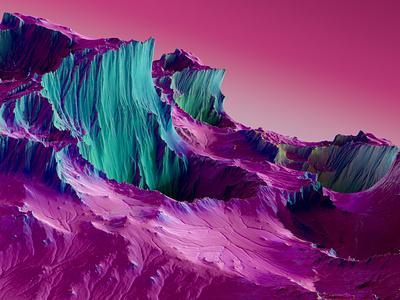 Dreamscape motiondesign bright colorful red blue composition pink gradient background landscape l design c4d cinema4d render motion graphics ui 3d graphic design