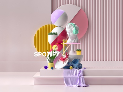Spotify classic contrast harmony geometric pastel artist freelancer spotify color motiondesign render design c4d cinema4d composition ui motion graphics animation graphic design 3d