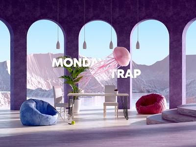 Monday Trap landscape octane background space modern lighting realistic typography ui interior architecture color pink composition motiondesign render design c4d cinema4d 3d