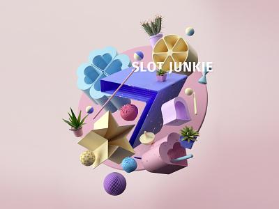 Slot Junkie v2 harmony color minimalist pink abstract geometric plants cover design lighting pastel casino seven gambling slots composition render design c4d cinema4d 3d