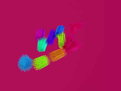 Nike Kinetic Splash brand red grains particles contrast colorful video typography nike mograph logo motiondesign render design c4d cinema4d 3d branding motion graphics animation