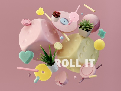 Roll The Dice plants minimal funky abstract geometric lighting contrast color graphic design slots dice casino gambling illustration composition render design c4d cinema4d 3d
