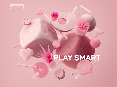 Play Smart poster designer motion graphics graphic design pink geometric icon illustration color monochrome minimal dice casino gambling composition render design c4d cinema4d 3d