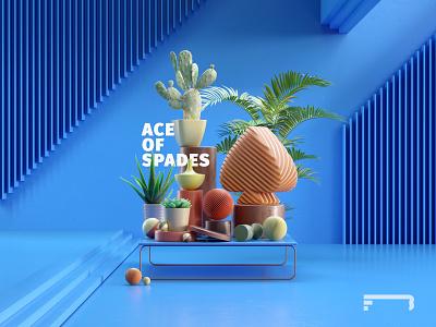 Ace Of Spades banner poster lighting typography palm plants black pink blue ace poker casino gambling illustration composition render design c4d cinema4d 3d