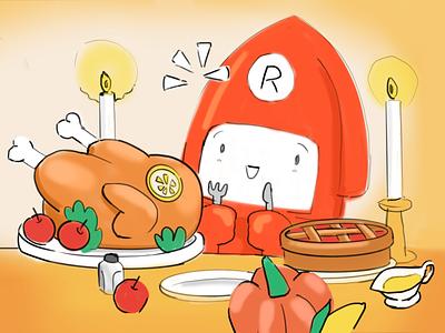 Happy  Thanksgiving! streaming mascot character solt apple corn candles dishes pumpkin lemon turkey thanksgiving squid cinema 4d c4d 3d illustration restream