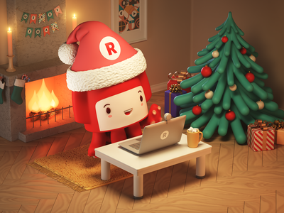 Happy Holidays 🦑🔥🎁🎄 | Christmas Illustration gifts merry xmas new year tree broadcasting streaming live postcard card christmas card christmas squid promo mascot illustration cinema 4d character candles c4d 3d restream