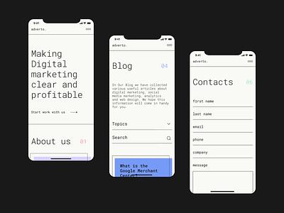 Digital Marketing Agency intarface minimalism ios app application light dark agency marketing colors typography portfolio figma ux ios interface design branding mobile interaction