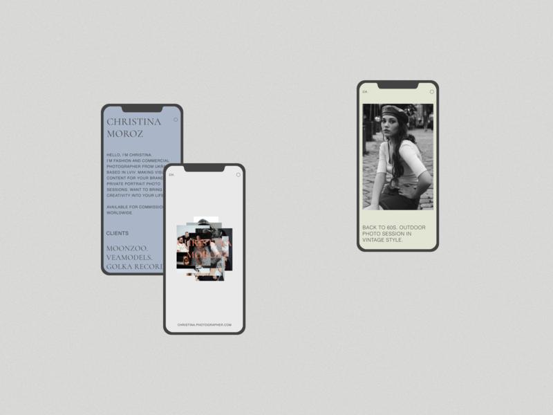 Christina Moroz Website-Portfolio (mobile UI) ux design ui design light ui ux logo vector branding minimalism colors figma ios design mobile interaction