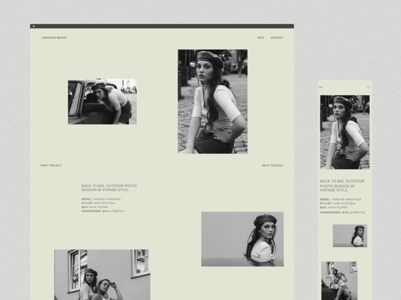 Christina Moroz Website-Portfolio UI application app photographer minimalism light website portfolio ios figma branding ux colors typography interface design mobile interaction