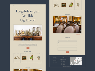 Hegdehaugen Antikk  Og Brukt - Showroom / Website - Store pastele cart product page b2b b2c interface website museum ancient antique logo typography illustration figma ux interaction shop store