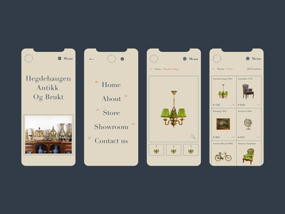 Hegdehaugen Antikk  Og Brukt - Showroom / Website - Store art products application app interface cart b2c b2b furnitures ancient antique shop store museum typography figma ux logo illustration design