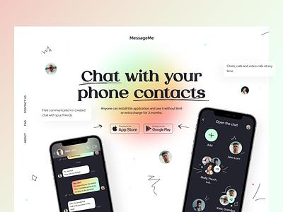 MessageMe - Landing Page messenger tools web product visual concept app application b2c b2b ios ui typography mobile ux figma interface