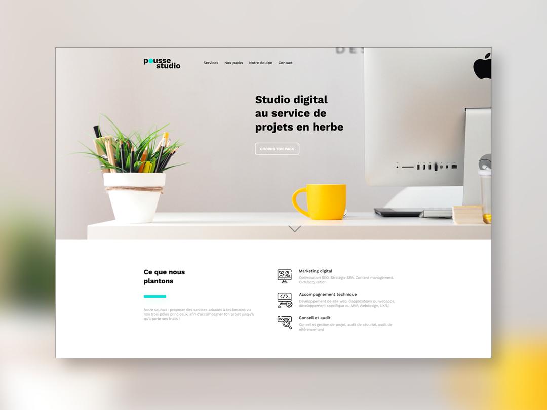 Pousse studio website design minimal icon workspace plant webdesign website branding ui design ux web design agency