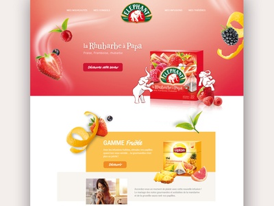 Elephant Refonte flat home navigation tea fruits form clean color ux ui webdesign web