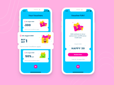 Voucher List UI Mobile App 🥳 app ui illustration