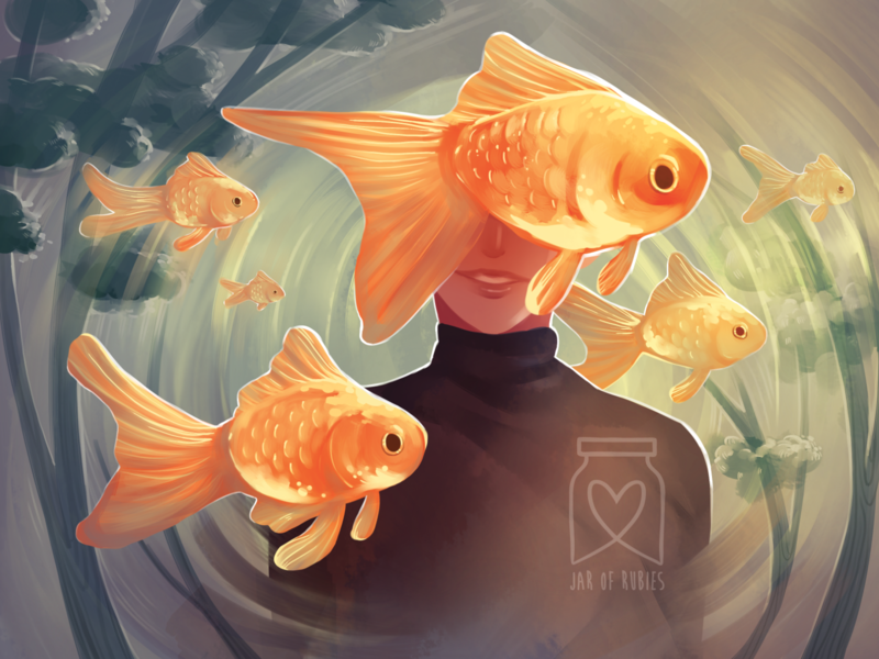Bathed In Gold fish fantasy goldfish illustration digital art