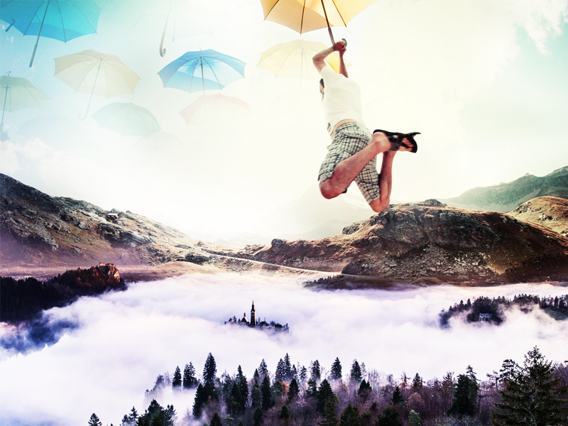 Random Photoshop jump dream mountains clouds photoshop blending