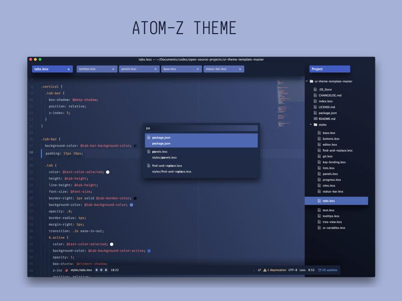 Atom Z Theme for Atom text editor github download text editor code ui theme syntax atom