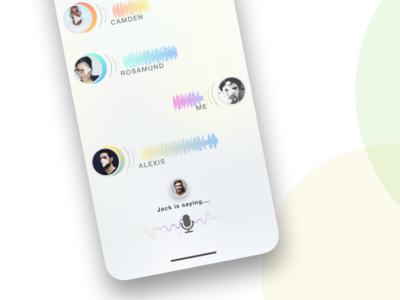 Audio chat app audio mic app iphone x minimal gradient wave sound avatar chat