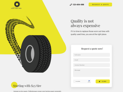 Used tier distributor vector contact landing page form quote shadow flat modern minimal tier used yellow