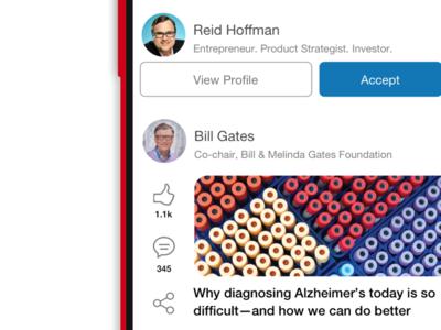 LinkedIn app redesign - In Progress redesign mobile minimal linkedin icons line light icon flat concept color app