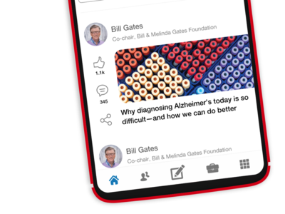 Another screenshot of the LinkedIn app redesign redesign profile share link status navigation feed tabs list linkedin design mobile app