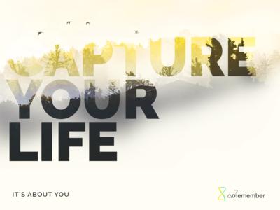 Capture you life - DoRemember quote landscape marketing typography gradient app