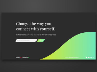 Doremember Footer new design social links cta banner dark wave signup form early access footer