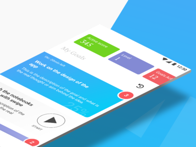 Accomplish your short term goals with TwoDays productivity todos goals stats blue isometric android app