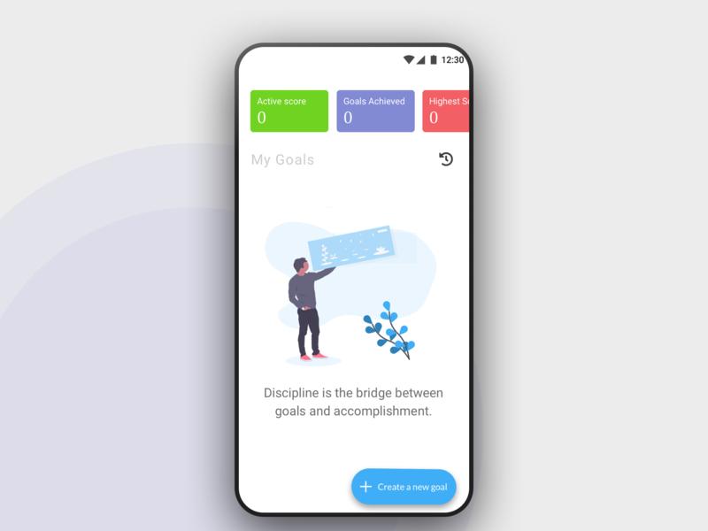 Let's start creating goals material design stats score goals quote android ux ui illustration app