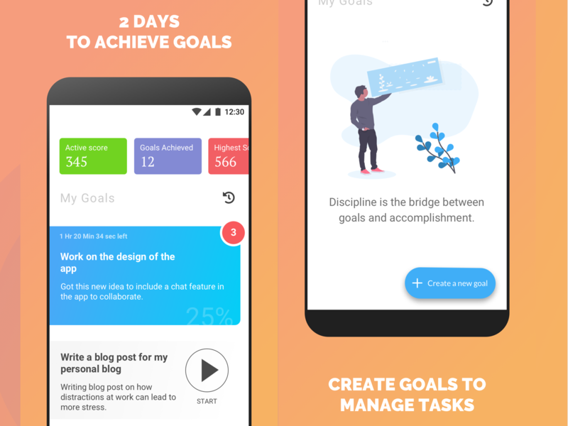 TwoDays - Daily to-do list as goals for Android illustration material design stats list ui ux android goals app