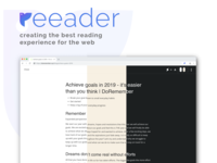 Reeader - Better reading experience logo blue productivity read reader browser web reading extension chrome