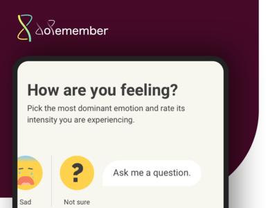 Ask me a question ux ux  ui design work in progress question emotions app branding app concept app