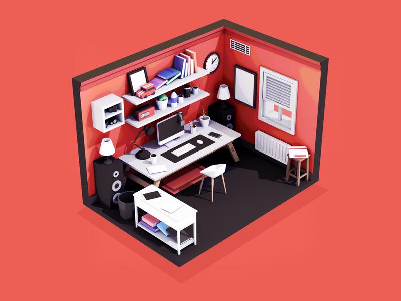Workspace Illustration freelancer freelance work b3d low poly render blender lowpoly isometric workspace 3d illustration