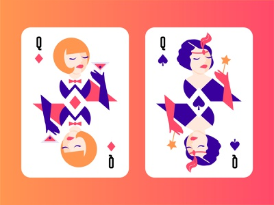 Modern Playing Cards lucky custom blackjack illustration flat woman casino game poker card poker playing cards playing card diamond spade 30-s vintage magic stick cocktail martini queen