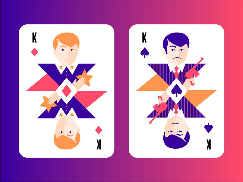 Modern playing cards. Two kings king gangster gun poker poker card card cards playing card playing cards 30s casino game cards game star police officer bandit red hair law spade