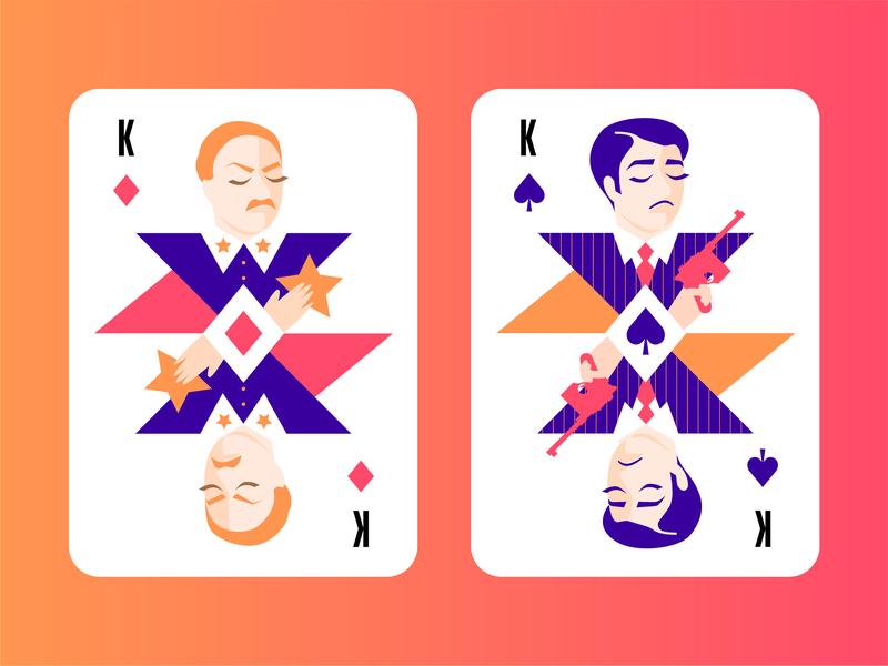 Modern Playing Cards 2 Kings star officer policeman king 30s spade game bandit poker card poker playing-card illustration gangster playing cards casino cards game cards card blackjack playing card
