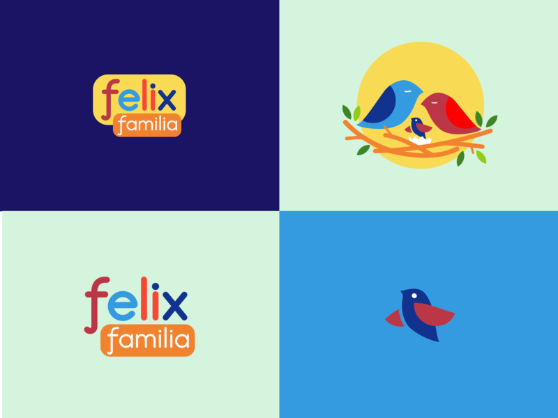 Felix bird logo nest birds bird flat icon vector illustration design logo