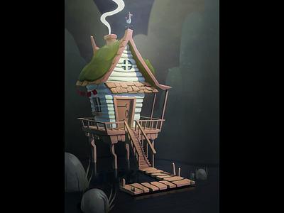 Little ol' cabin artwork illustration