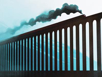 All aboard the Choo Choo Express locomotion digital illustration digital painting digital art painting smoke fog train photoshop illustration blender3d blender