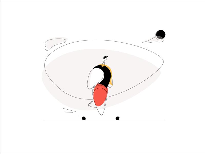 Let's sk8 bulk sport skateboard simplistic human body design minimal flat character design character vector illustrator illustration
