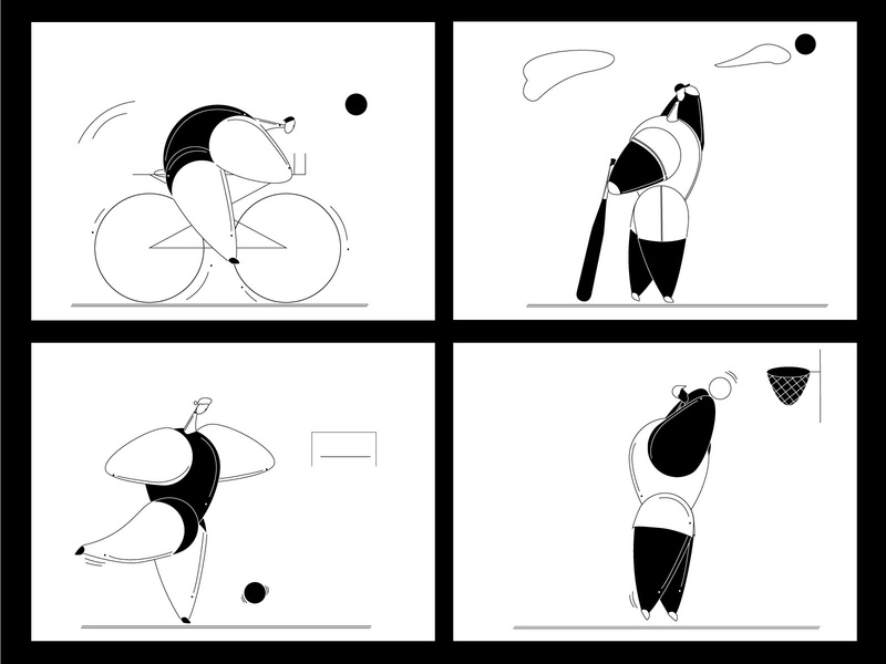 B&W Sports ball bicycle bat blackandwhite cyrillic baseball basketball football bulk sport simplistic minimal human body flat character design character vector illustrator illustration