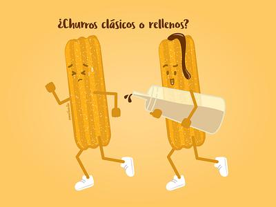 Churros mexico sweet escape lobotomy running sugar dessert churros funny sketch drawing cartoon vector mexican food mexican illustration food