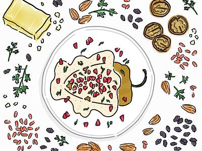 Chile en Nogada drawing puebla recipe ingredients chile en nogada food vector shutterstock mexican mexican food illustration