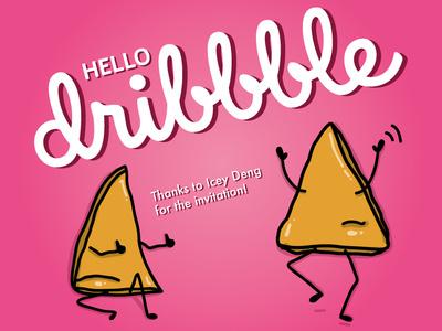 Hello Dribbble!! hello dribbble tortillas fried sketch cartoon mexican food mexican thanks hello hello world totopos illustration food