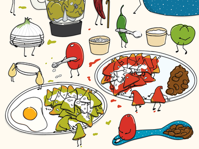 Chilaquiles Verdes o Rojos Part.IV working onion chilaquiles verdes chilaquiles rojos cooking tortillas funny cook totopos fried chilaquiles sketch recipe cartoon vector mexican food mexican illustration food