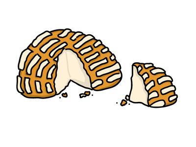 Concha traditional pan vanilla sugar concha mexicano pan dulce sweet bread bread drawing sketch cartoon vector mexican food mexican illustration food