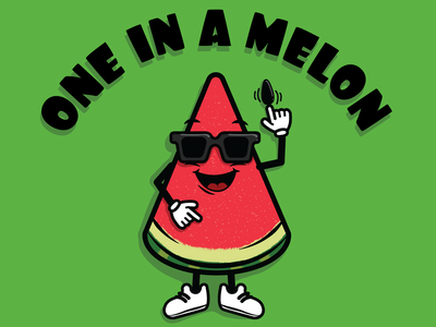 One In A Melon sunglasses character sneakers cool watermelon slice fruit seed sandía watermelon drawing cartoon vector illustration food